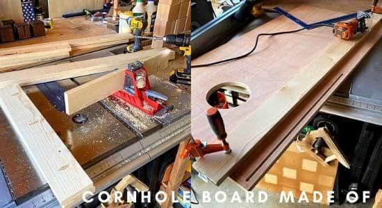 Cornhole board made of